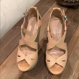Jessica Simpson light tan wedges